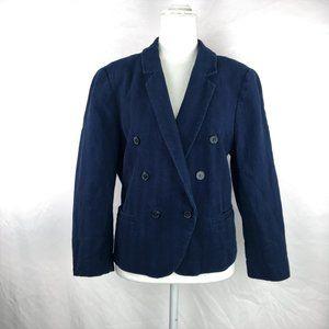 Loft Navy Blue Linen Blazer Size 14